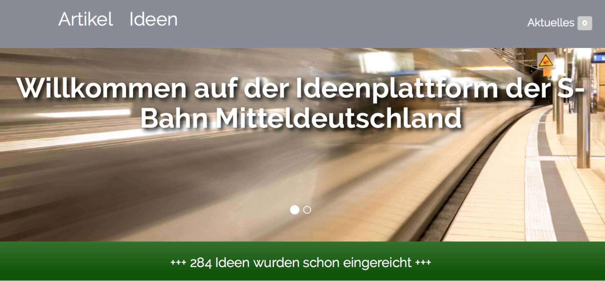 ein Screenshot der Ideenplattform