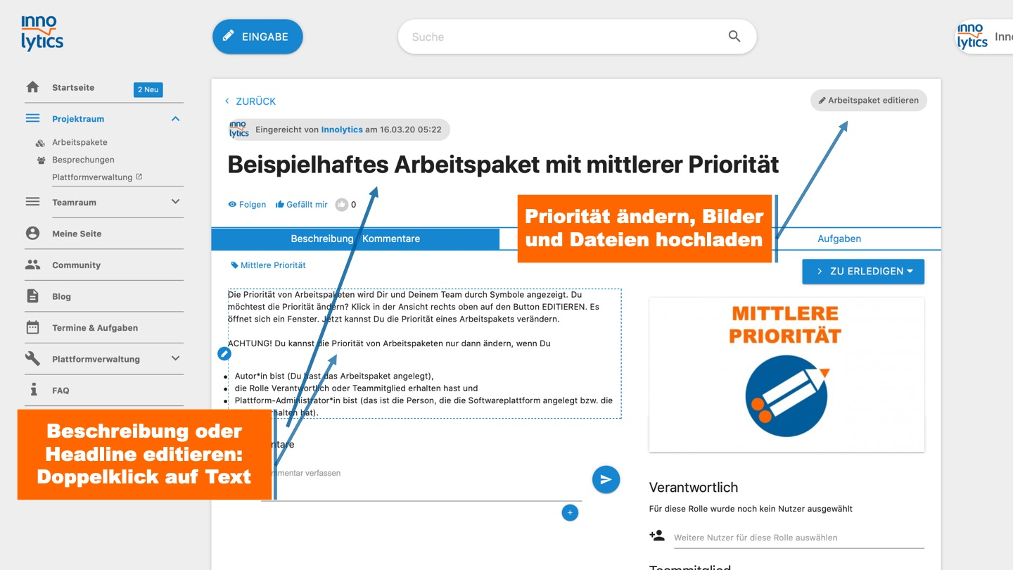 Collaboration Software - Arbeitspaket editieren