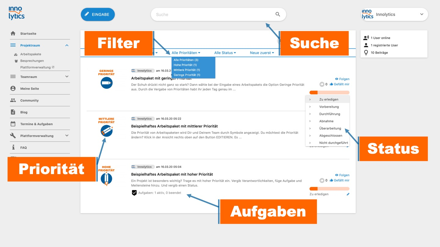 Collaboration Software - Arbeitspakete-Funktionen