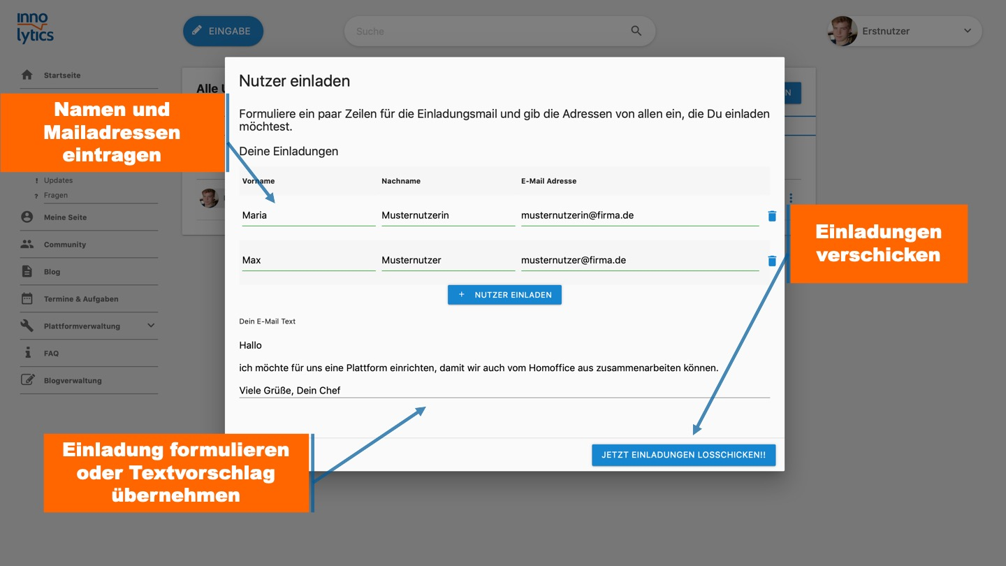 Collaboration Software - Nutzer einladen