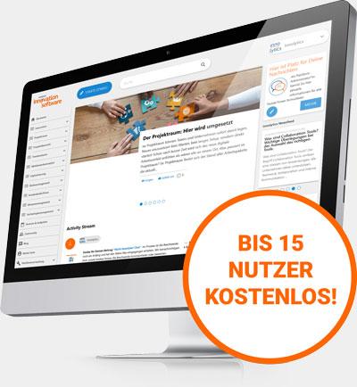 Die Abbildung zeigt einen Screenshot der Innolytics Software Suite und den Modulen Innovationsoftware, Kollaborationssoftware und Workflow Software.