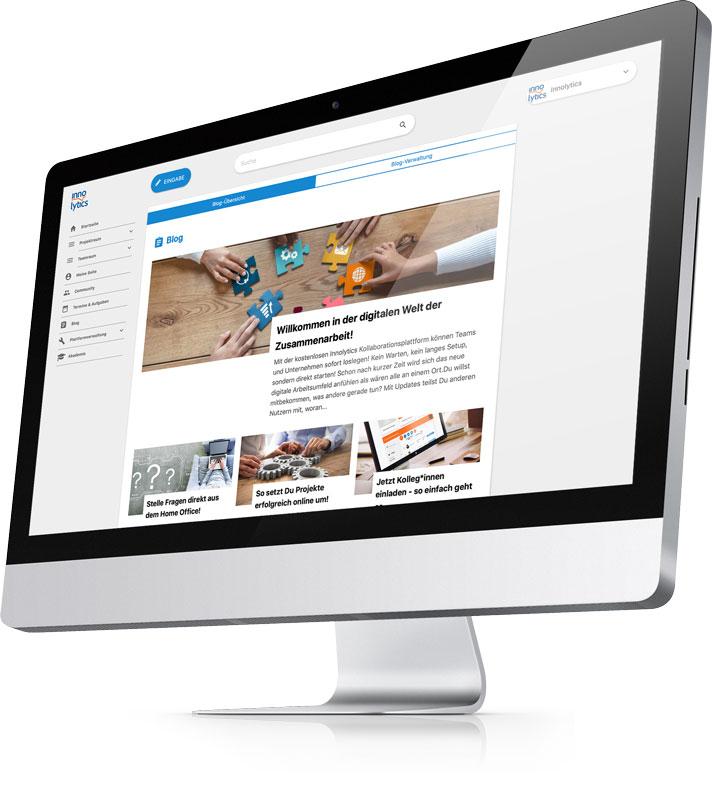 Die Abbildung zeigt einen Screenshot: Die Blog-Funktion der Innolytics Wissensmanagement-Software.