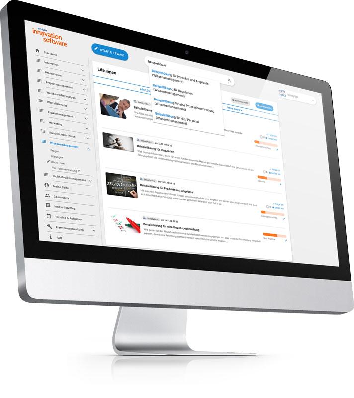 Die Abbildung zeigt einen Screenshot: Die Wissensdatenbank der Innolytics Wissensmanagement-Software.
