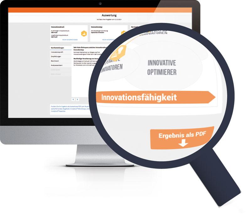 Die Abbildung zeigt einen Weg, sich die Konformität des Innovationsmanagement-Systems nach ISO Norm 56002 durch eine Analyse zertifizieren zu lassen.