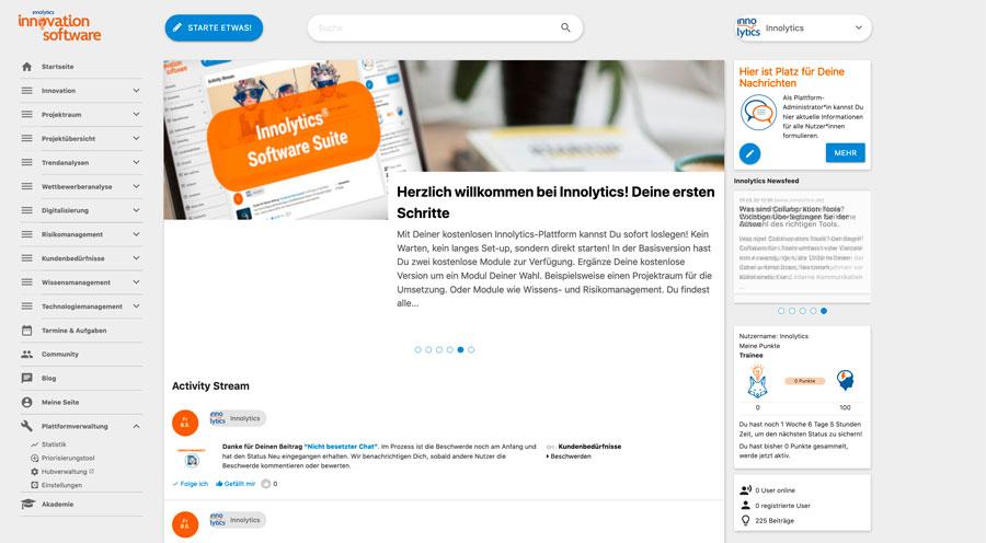 Die Abbildung zeigt einen Screenshot der Innolytics Workflow-Software