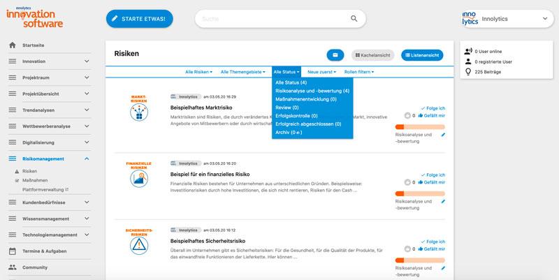 Das Bild zeigt einen Screenshot von Risikomanagement-Software. Die Funktion der Übersicht und der Filterung von Risiken wird abgebildet.