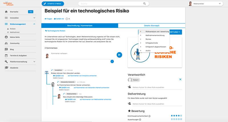 Das Bild zeigt einen Screenshot von Risikomanagement-Software. Die Abbildung eines Risikos sowie die Kommentierung und Bewertung von Risiken wird abgebildet.