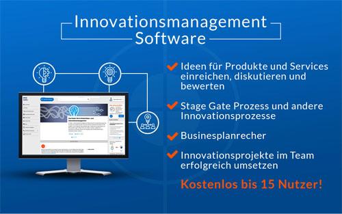 Das Bild zeigt die Innovationsmanagement-Software der Innolytics GmbH und stellt ausgewählte Funktionen vor.